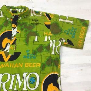 Vintage Primo Beer hawaiian pullover aloha shirt